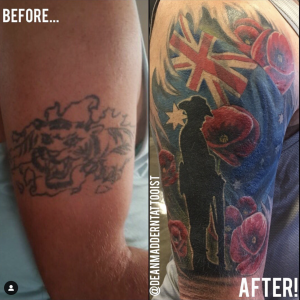 image show before and after cover up tattoo by dean maddern
